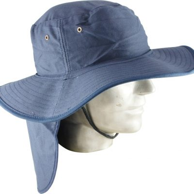 1beef501a4e Wide Brim Hat with neck flap- Navy Blue Large XL - Minebox
