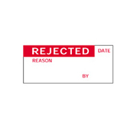 Rejected By Date Reason - H38mm x W15mm - Red/White