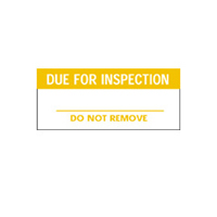 Due For Inspection Do Not Remove - H38mm x W15mm - Orange/White