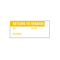 Return To Vendor By Date Reason: - H38mm x W15mm - Orange/White