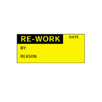 Re-Work Date Be Reason: - H38mm x W15mm - Black/Yellow