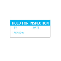 Hold For Inspection By Date Reason: - H38mm x W15mm - Blue/White