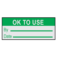 Ok To Use By.. - H15mm x W38mm - GREEN/SILVER