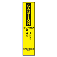 Bounce Back Warning Post - Caution Buried Gas Line SignYellow/Black - H300mm x W75mm