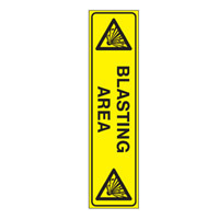 Bounce Back Warning Post - Blasting Area SignYellow/Black - H300mm x W75mm