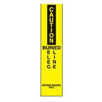 Bounce Back Warning Post - Caution Buried Electrical Line SignYellow/Black - H300mm x W75mm