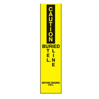 Bounce Back Warning Post - Caution Buried Tel. Line SignYellow/Black - H300mm x W75mm