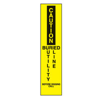 Bounce Back Warning Post - Caution Buried Utility Line SignYellow/Black - H300mm x W75mm
