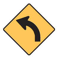 Regulatory Traffic Sign - Curves Left Symbol - H600mm x W600mm