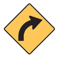 Regulatory Traffic Sign - Curves Right Symbol - H600mm x W600mm