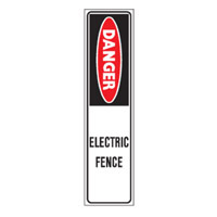 Bounce Back Warning Post - Danger Electric Fence SignRed/White/Black - H300mm x W75mm