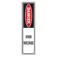 Bounce Back Warning Post - Danger High Voltage SignRed/White/Black - H300mm x W75mm