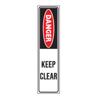 Bounce Back Warning Post - Danger Keep Clear SignRed/White/Black - H300mm x W75mm