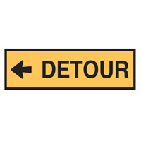 Temporary Traffic Control Sign - Detour Left - H300mm x W1200mm