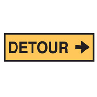 Temporary Traffic Control Sign - Detour Right - H300mm x W1200mm