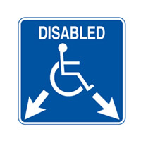 Accessible Sign - Disabled Arrrows Down Left and Right - H450mm x W450mm