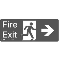Braille Sign - H150mm x W450mm - Polycarbonate - Fire Exit Right
