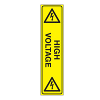 Bounce Back Warning Post - High Voltage SignYellow/Black - H300mm x W75mm