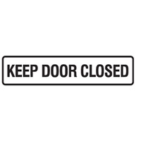 Door Sign - H45mm x W200mm - Self Adhesive Vinyl - Keep Door Closed