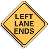 Regulatory Traffic Sign - Left Lane Ends - H750mm x W750mm