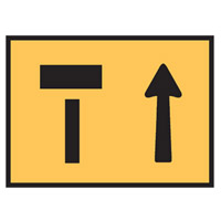 Temporary Traffic Control Sign - Left Lane Ends Symbol - H900mm x W1200mm