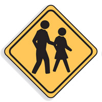 Regulatory Traffic Sign - Pedestrian Crossing Symbol - H600mm x W600mm