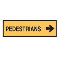 Temporary Traffic Control Sign - Pedestrians Right - H300mm x W1200mm