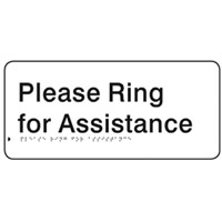 Braille Sign - H150mm x W330mm - Polycarbonate - Please Ring For Assistance