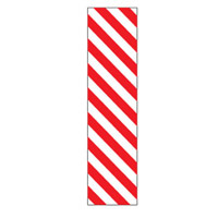 Bounce Back Warning Post - Red/White Diagonal Stripes SignRed/White - H300mm x W75mm