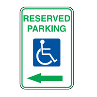 Accessible Sign - Reserved Parking Arrow Left - H250mm x W180mm
