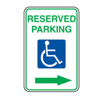 Accessible Sign - Reserved Parking Arrow Right - H250mm x W180mm