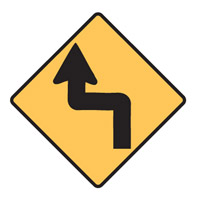 Regulatory Traffic Sign - Reverse Turn Left Symbol - H600mm x W600mm