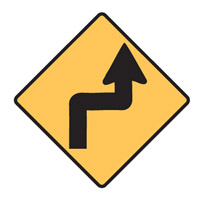 Regulatory Traffic Sign - Reverse Turn Right Symbol - H600mm x W600mm