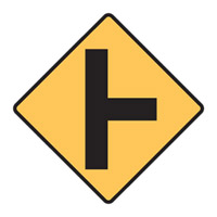 Regulatory Traffic Sign - Right Sign T Junction Symbol - H600mm x W600mm
