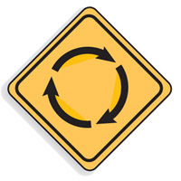 Regulatory Traffic Sign - Roundabout Symbol - H600mm x W600mm
