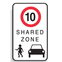 Regulatory School Sign - School Sign 10 Shared Zone - H750mm x W450mm