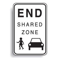 Regulatory School Sign - School Sign End Shared Zone - H750mm x W450mm