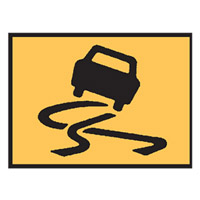 Temporary Traffic Control Sign - Slippery Symbol - H600mm x W900mm