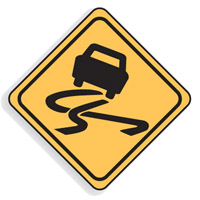 Regulatory Traffic Sign - Slippery When Wet Symbol - H600mm x W600mm