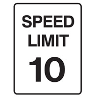 Traffic Sign - Speed Limit - Speed Limit 10 - H250mm x W180mm