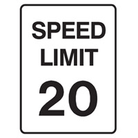 Traffic Sign - Speed Limit - Speed Limit 20 - H250mm x W180mm