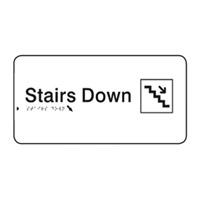 Braille Sign - H110mm x W330mm - Polycarbonate - Stairs Down