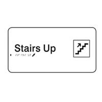 Braille Sign - H110mm x W330mm - Polycarbonate - Stairs Up
