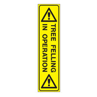 Bounce Back Warning Post - Tree Felling In Operation SignYellow/Black - H300mm x W75mm