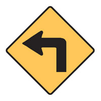 Regulatory Traffic Sign - Turn Left Symbol - H600mm x W600mm
