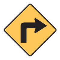 Regulatory Traffic Sign - Turn Right Symbol - H600mm x W600mm