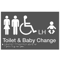 Braille Sign - H180mm x W276mm - Polycarbonate - Unisex Toilet & Baby Change LH