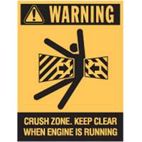 Vehicle & Truck Identification Signs - Warning Crush Zone