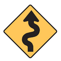 Regulatory Traffic Sign - Winding Road Symbol - H600mm x W600mm