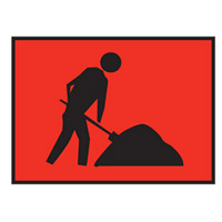 Temporary Traffic Control Sign - Workers Ahead Symbol - H600mm x W900mm